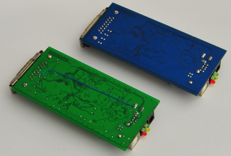 USB AUI Ethernet adapter prototype and final design undersides