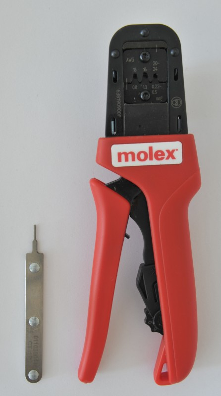 Molex Mini-Fit Jr crimp tool and extraction tool