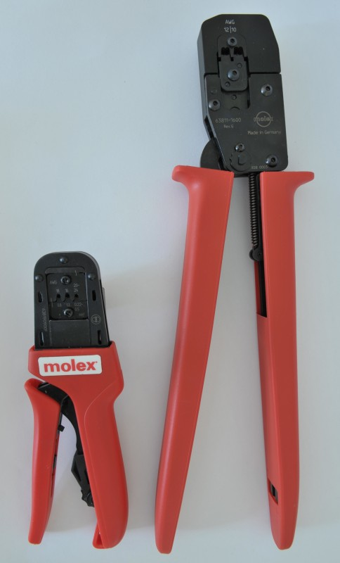 Mini-Fit Sr crimp tool (Right) next to Mini-Fit Jr