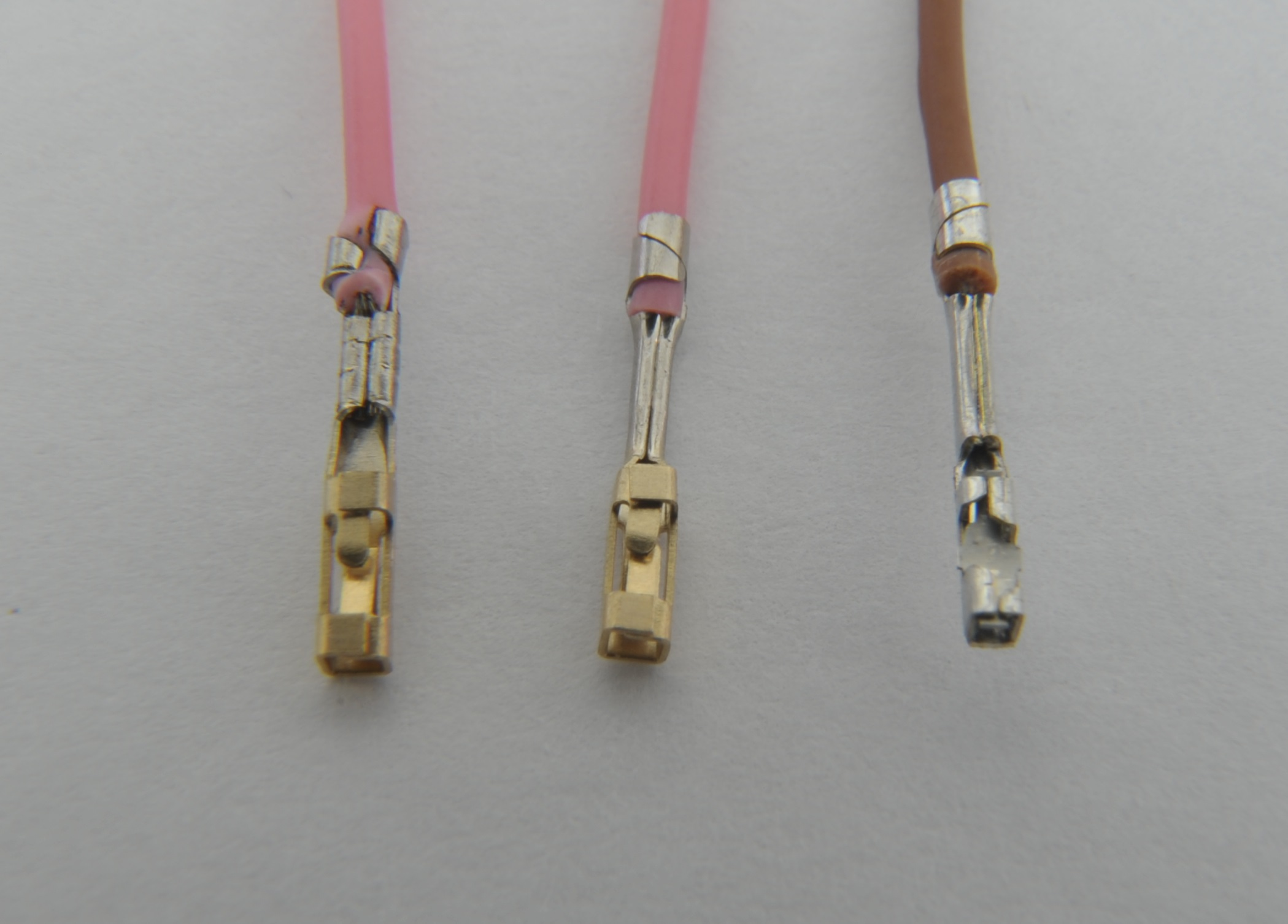 Common wire to board wire to wire connectors and crimp tools crimping with unofficial tools crimped mini pv terminals sciox Gallery