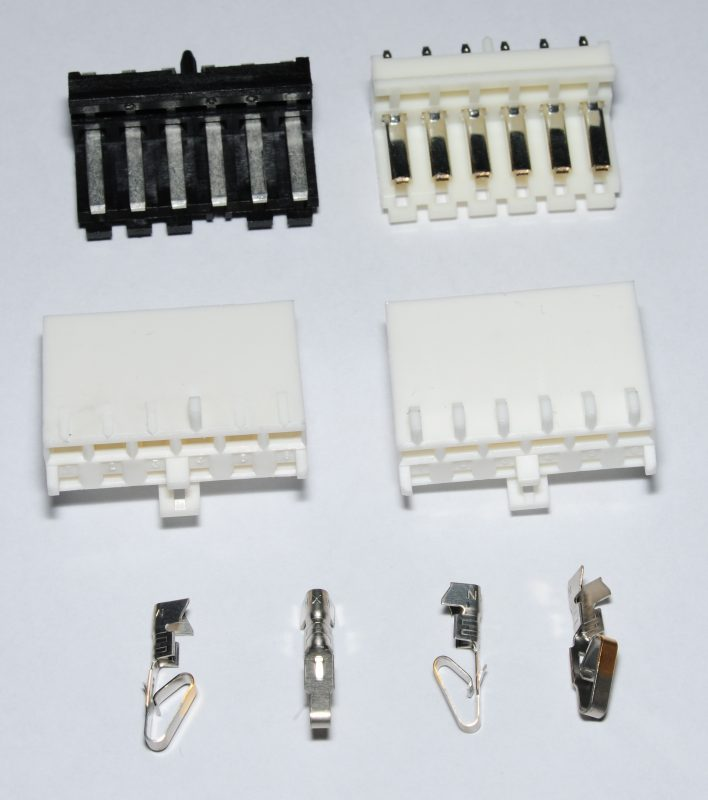 Common wire-to-board, wire-to-wire connectors, and crimp tools